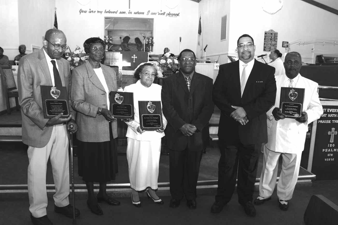 The City-wide Baptist Training Union of Savannah celebrated its anniversary, January 29, 2012. Several long time member of the BTU were honored for their leadership and service. Pictured: Rev. Paul A. Sheppard, Deacon Andrew Foster, Honorees: Deacon William Thomas, Rev. Mother Mary Washington, Rev. Benjamin Washington, Sis. Viola Baker; not standing: Mrs. Ruth Wright.