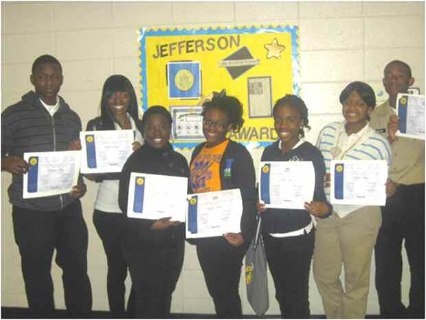 L-R Christopher Mays, Latifa Simmons, Demeria Hugue, Moneshia Morant, Alexis King, Cu'Quavia Mitchell, Micheal Walker