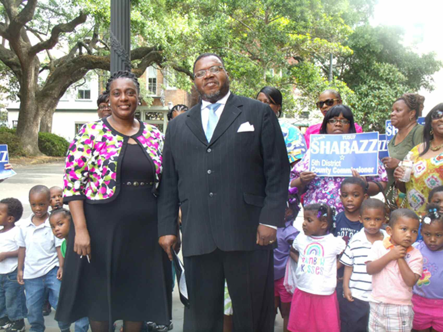 Shabazz pictured with his wife and supporters at the Old Chatham County Courthouse