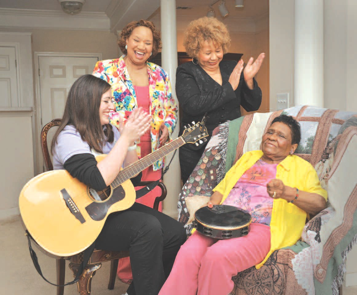 Amy Adams, Hospice Savannah certified music therapist; Neldra Flint; Author Jackie Tomlin; and their mother, Ms. Nellie Pierson.