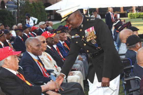 Savannah Lt. Gen. Walter Gaskin, right, shakes hands with veteran Montford Point Marines.