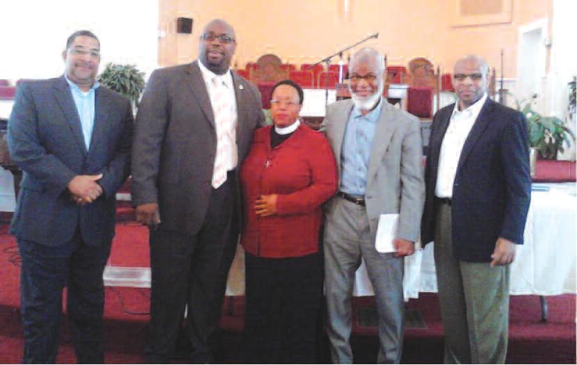 """L-R Rev. Paul Shepherd, Rev. C.M. Brown, Rev. Cheryl Parris, Imam Maajid Faheem 'Ali and Rev. Clarence """"Teddy"""" Williams"""