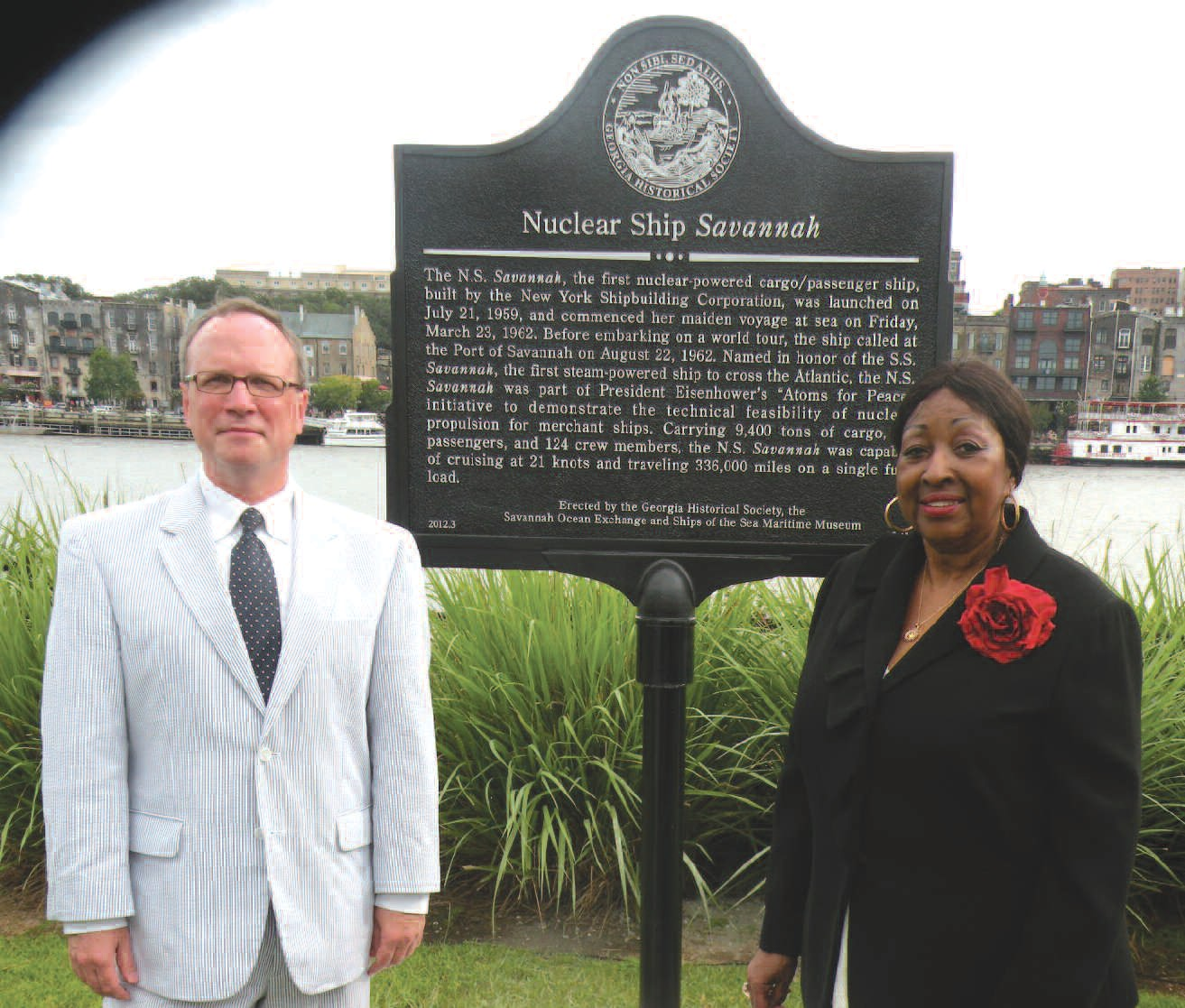 Dr. W. Todd Groce, President & CEO, Georgia Historical Society along with Mayor Edna Jackson at the dedication and unveiling of the historical marker for the Nuclear Ship Savannah.