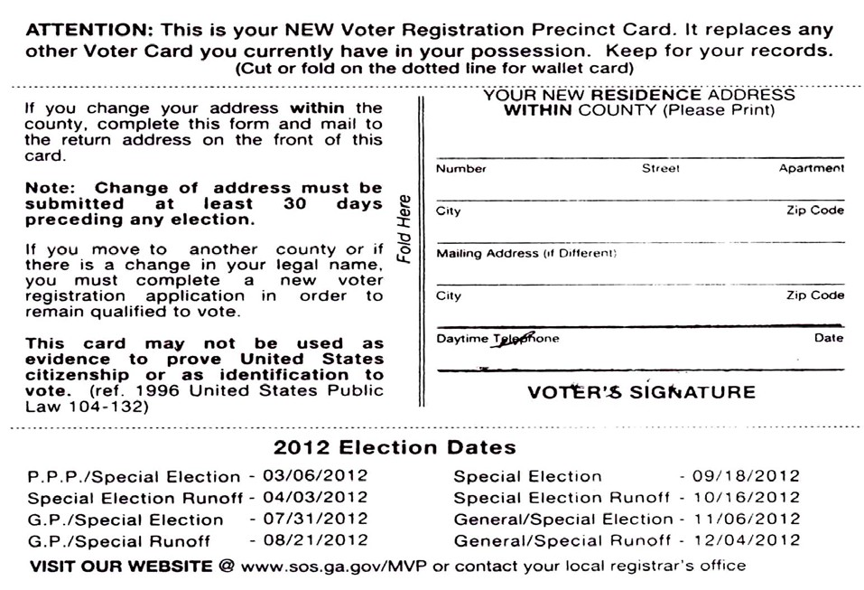 HAVE YOU RECEIVED YOUR NEW VOTER REGISTRATION PRECINCT CARD FROM CHATHAM COUNTY?