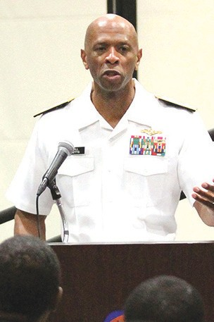 Rear Adm. Willie Metts, returned to his alma mater Thursday, Sept. 20, 2012 as the featured speaker at the 2012 Research Scholarship Awards Ceremony.