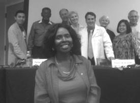 Panel Members: Rene Taren, Larry Rivers, Peter Brodhead, Paula Kreissler, Dr. Dave Davies, Carol Kirchner, Cristina Gibson, and Robert Skiljan. Carolyn Guilford in front.
