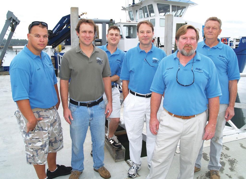 "RV Savannah Crew 11-11.jpg – ""The crew of the R/V Savannah, (l-r) Chris Keene, John Bichy, Pete Casserleigh, Michael Richter, Raymond Sweatte and Richard Huguley."""