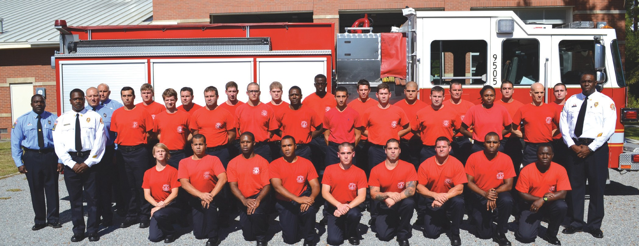 Captain Dietrich Chapple, Megan Garrison, Abiam Rivas, Taig Herring, JaMell Callahan, Colton Gasperson, Joshua Duran, Stephen Knight, Alexander Williams, Roger Williams. Center row (l-r) MFF Wayne Ifil, MFF Scott Boyd, Luke Ortiz, Matthew Solomon, Ryan Lenz, Jeremy Veale, Darren Lampley, Christian Hutcherson, Travis Pool, Ryan Marquez, Natasha Brackett, Abraham Febles, Captain Santonio Johnson. Back row (l-r) MFF Scott Novak, Adam Raffield, Andrew Bender, Colin Billotto, Justin Evans, Daniel Simons, Brian Neilson, Robert Gabelmann, Justin Goldberg, Kyle Johnson, Davis Carcione