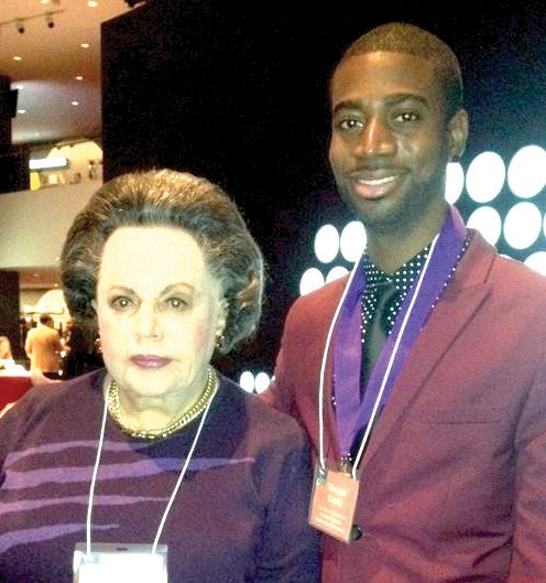 Morgan Gusby with Miriam Bienstock, widow of Freddy Bienstock. She is also the only surviving founder of Atlantic Records.