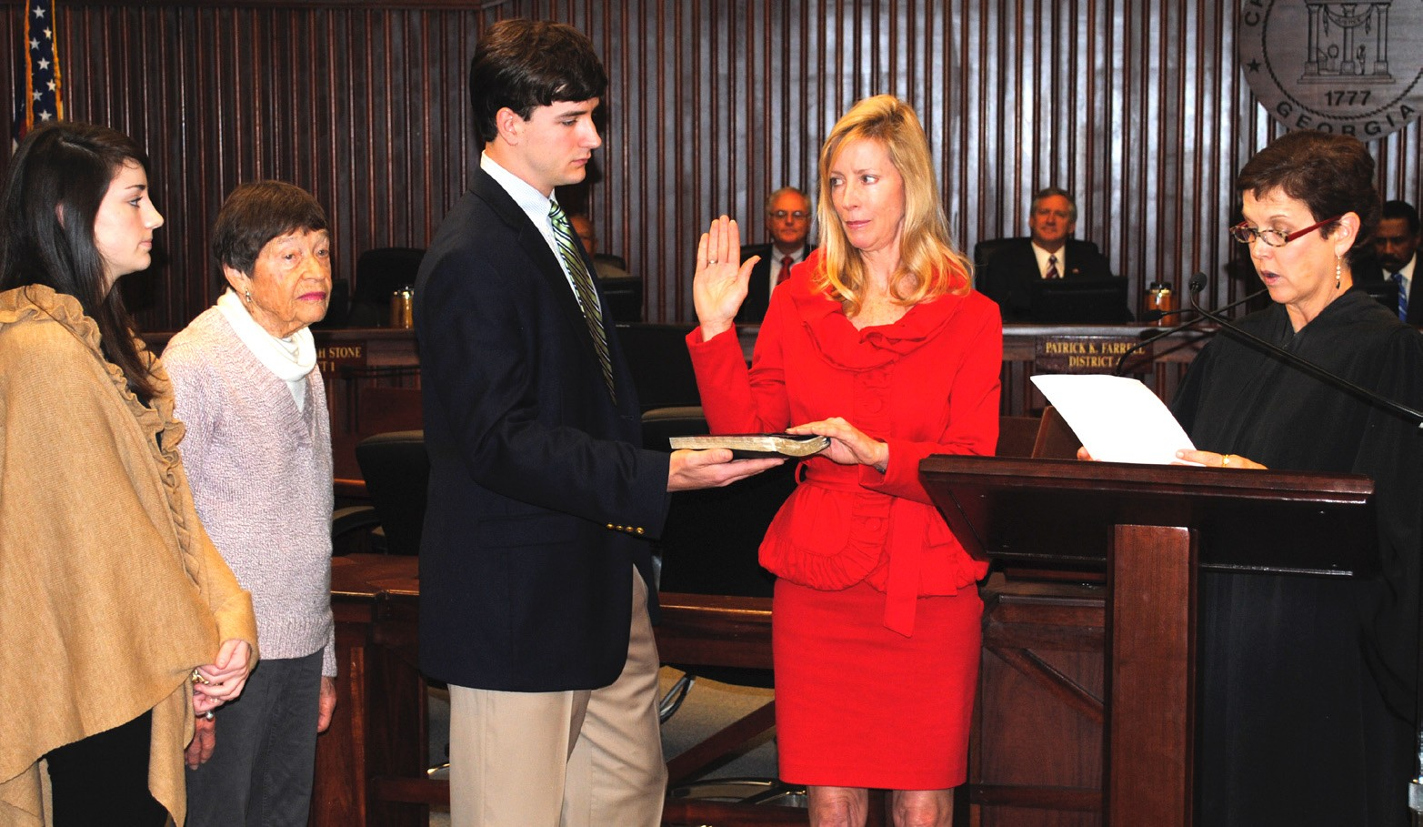 Commissioner Helen Lynah Stone, District 1, sworn in by The Honorable Judge Louisa Abbot.