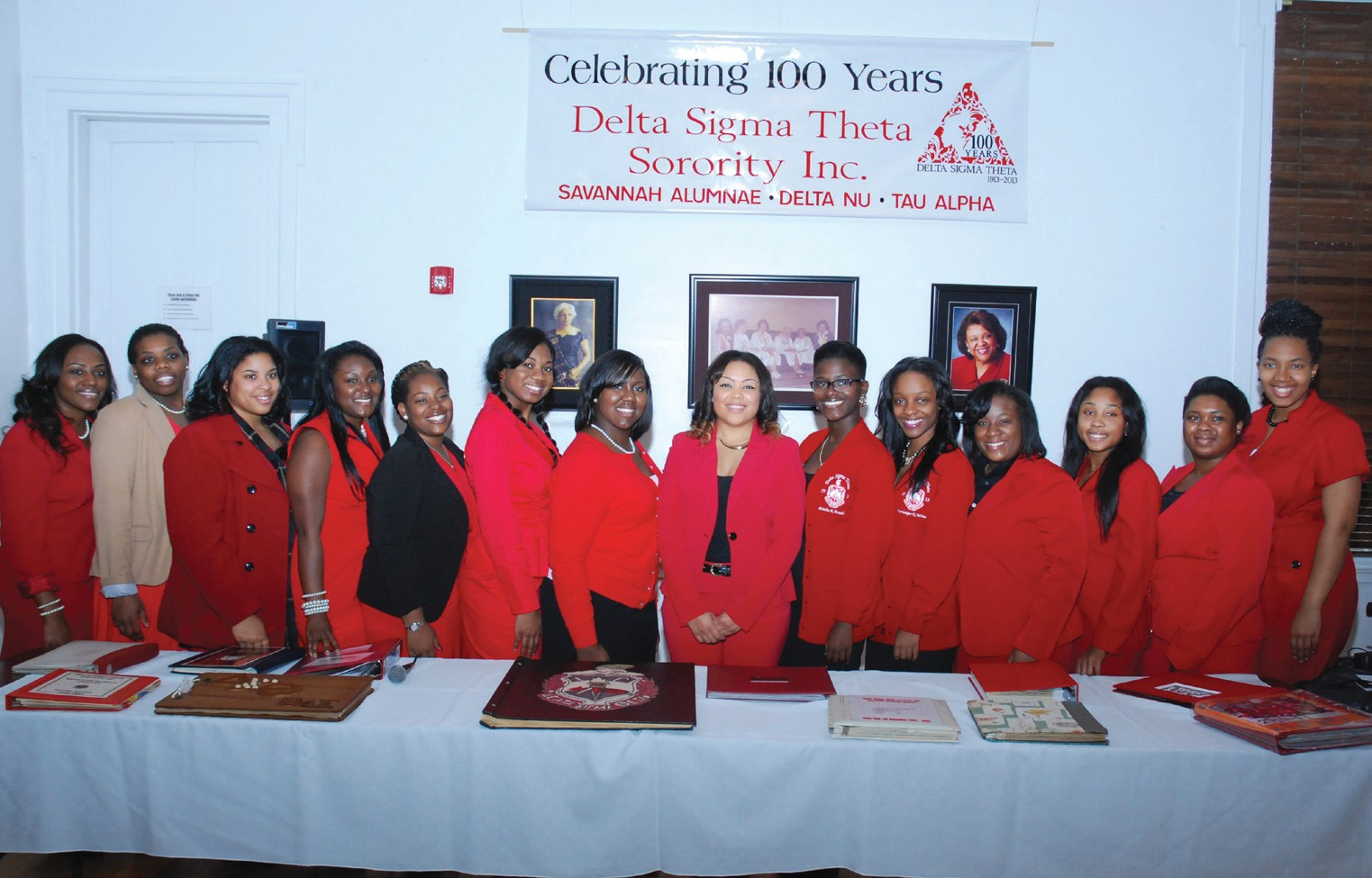 Members of Delta Nu Chapter at SSU with President Akendra Johnson
