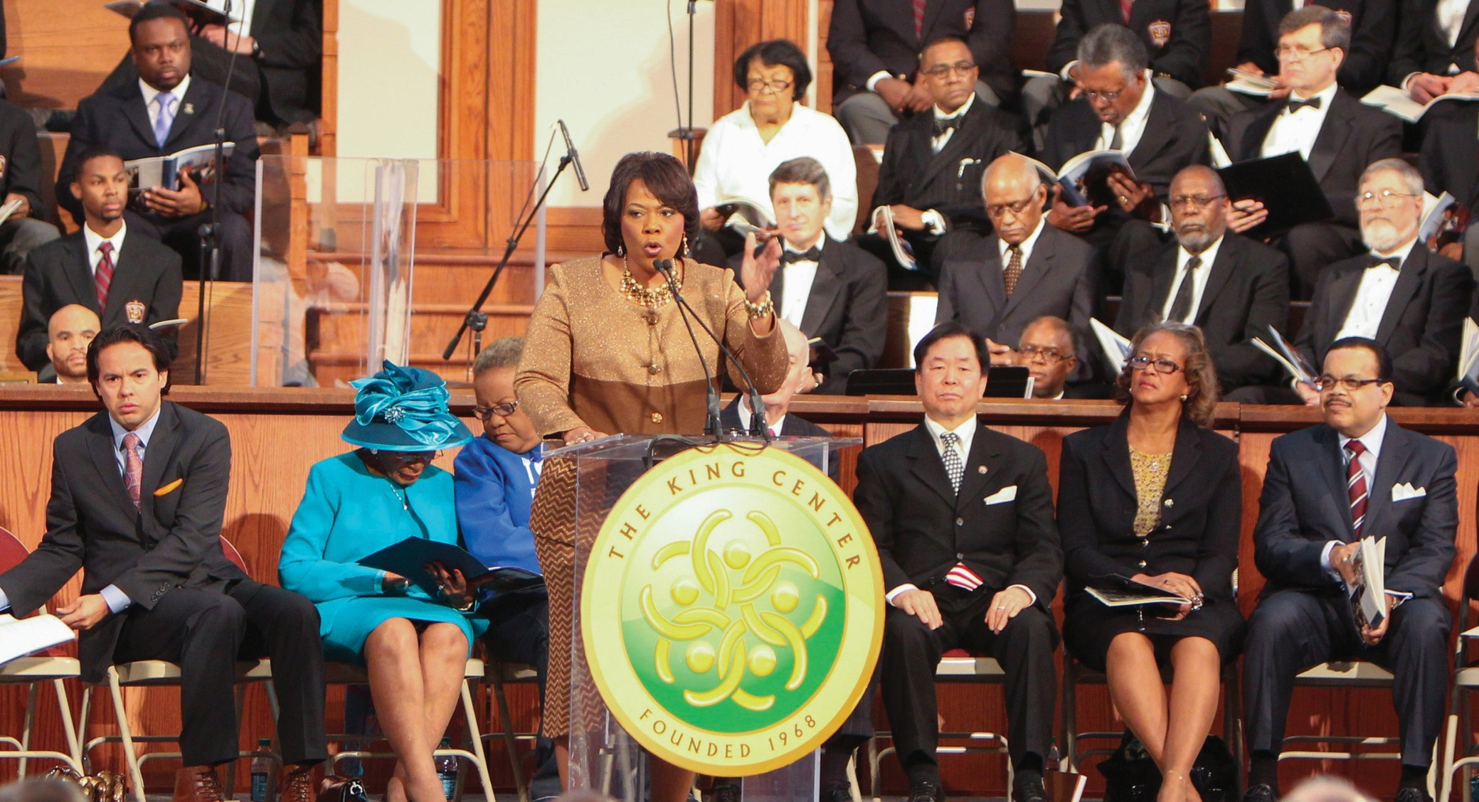 Dr. Bernice King speaking at the podium at the Annual Commemorative Service in Ebenezer Baptist Church Horizon Sanctuary on January 21.