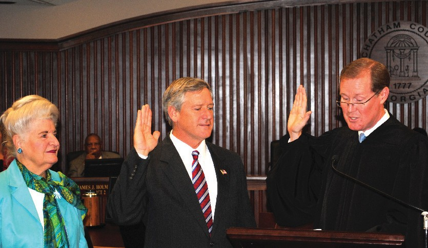 Commissioner Patrick K. Farrell, District 4, sworn in by The Honorable Timothy R. Walmsley
