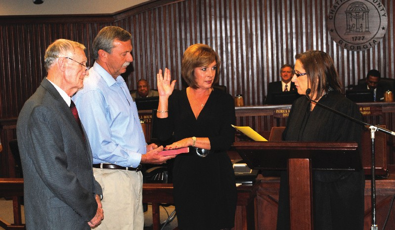 Commissioner Lori L. Brady, District 6, sworn in by The Honorable Penny Haas Freesemann