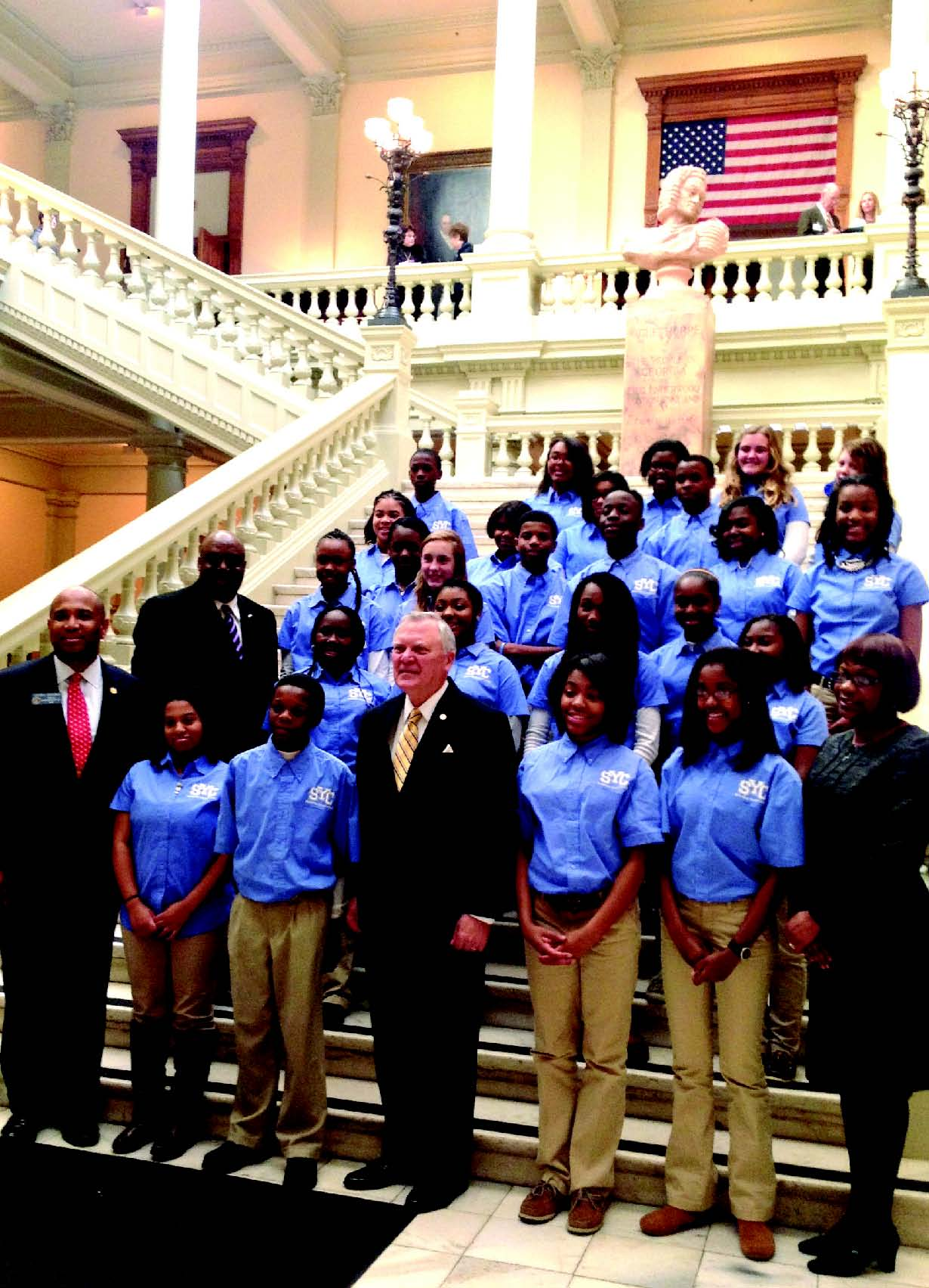 Members of the Savannah Youth Council on Thursday with Gov. Nathan Deal, Sen. Lester Jackson, Mayor Pro Tem Van Johnson and Savannah Acting City Manager Stephanie Cutter.