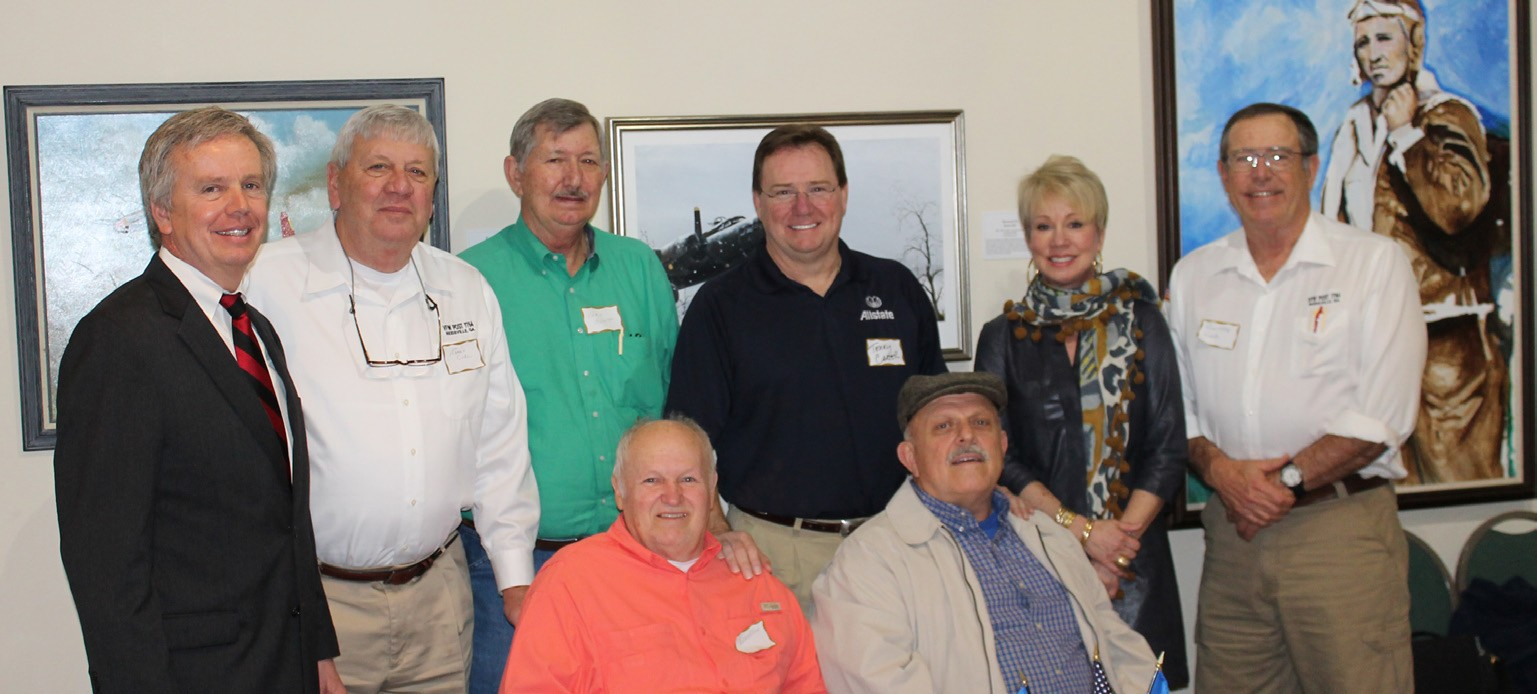 L-R: Lamar Smith, Col. James Curl, (Retired Marine); Earl Boyette, Terry Carter, Susan Young, Ronnie McCall, Bruce Oliver (Vietnam & Iraq Veteran Bronze Star) and John Wingate (Purple Heart)