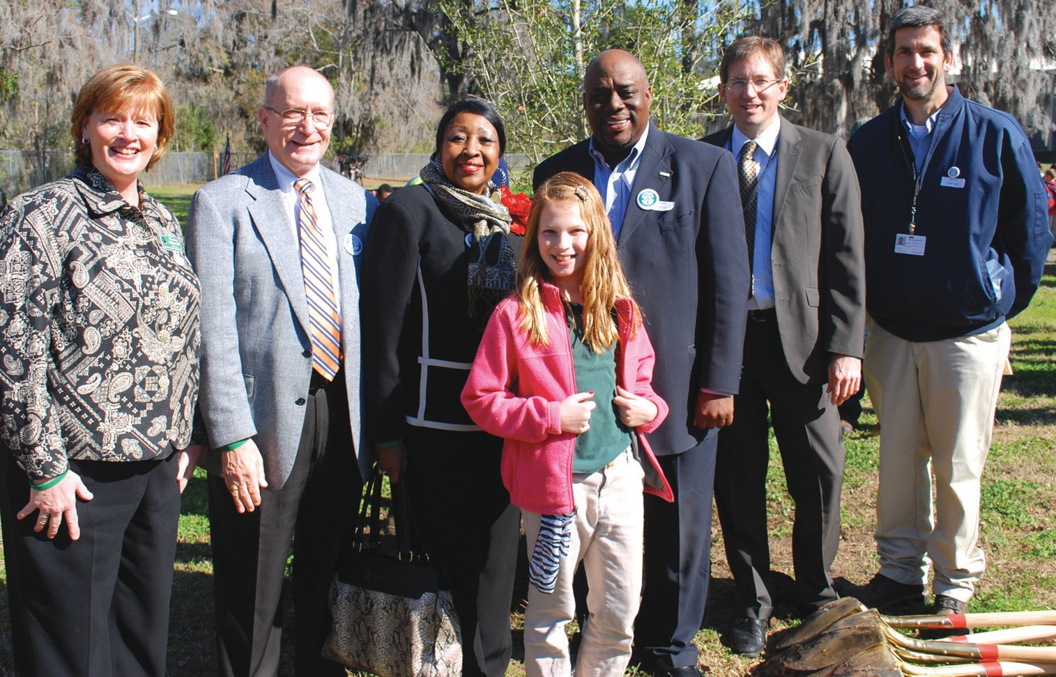 (From left to right) Windsor Forest Elementary Principal, Dr. Marcia McManus; Superintendent of Schools, Thomas B. Lockamy, Jr. Ed.D., Mayor Edna Jackson, Windsor Forest Elementary Student Council President, Lakelyn Luke; Mayor Pro Tem Van Johnson; Park & Tree Commissioner, Walt Harper and Forestry Administrator, Bill Haws