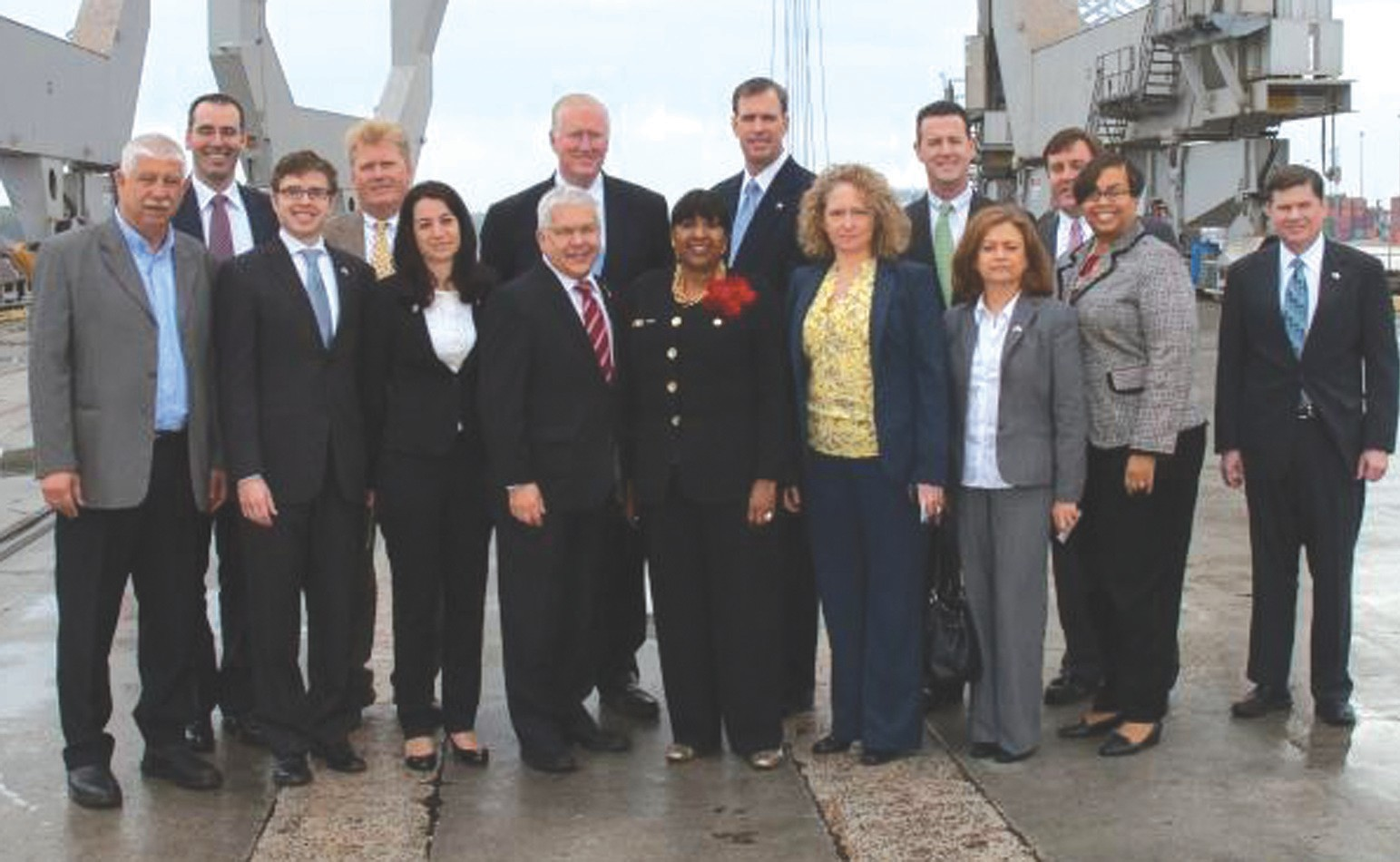 Business and civic leaders from the City of Savannah and Israel at a meeting at the Georgia Ports Authority.