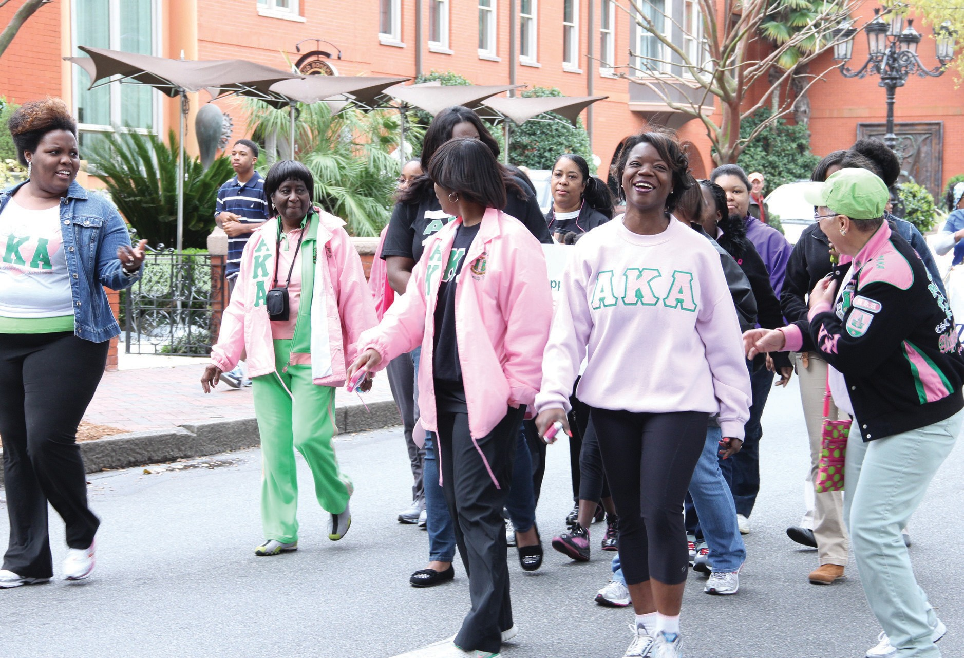 Local Alpha Kappa Alpha Sorority members participated in Women Suffrage March.