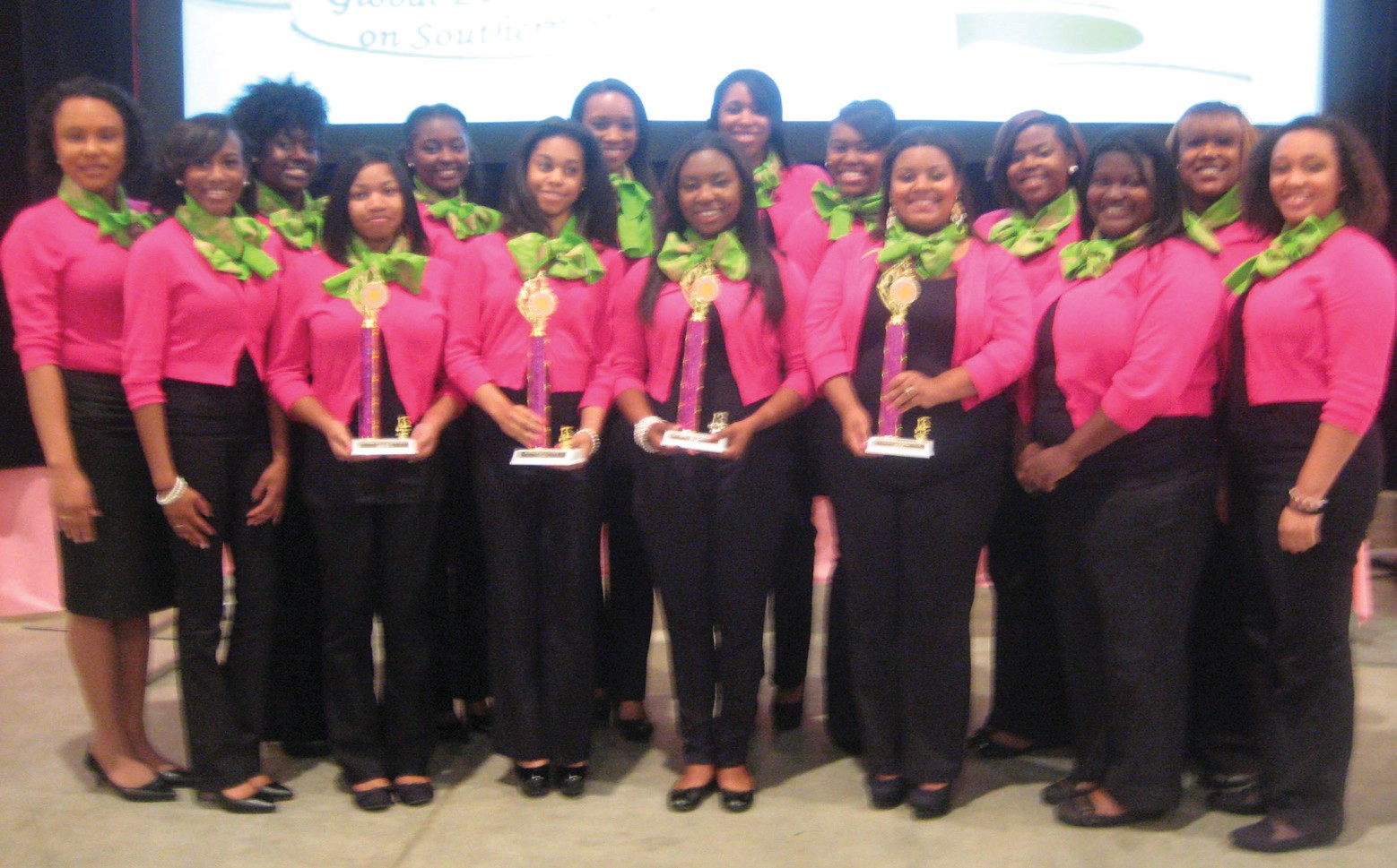 Sigma Tau member's of Alpha Kappa Alpha Sorority with trophies April 20th, 2013 at Regional Conference in North Charleston, South Carolina.