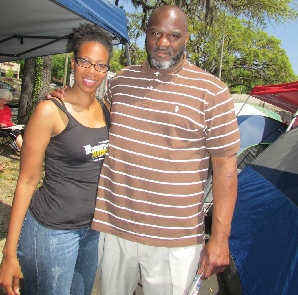 Tammara Barn and Fred Bowman from Charlotte, North Carolina camping out at Chick-fil-A.