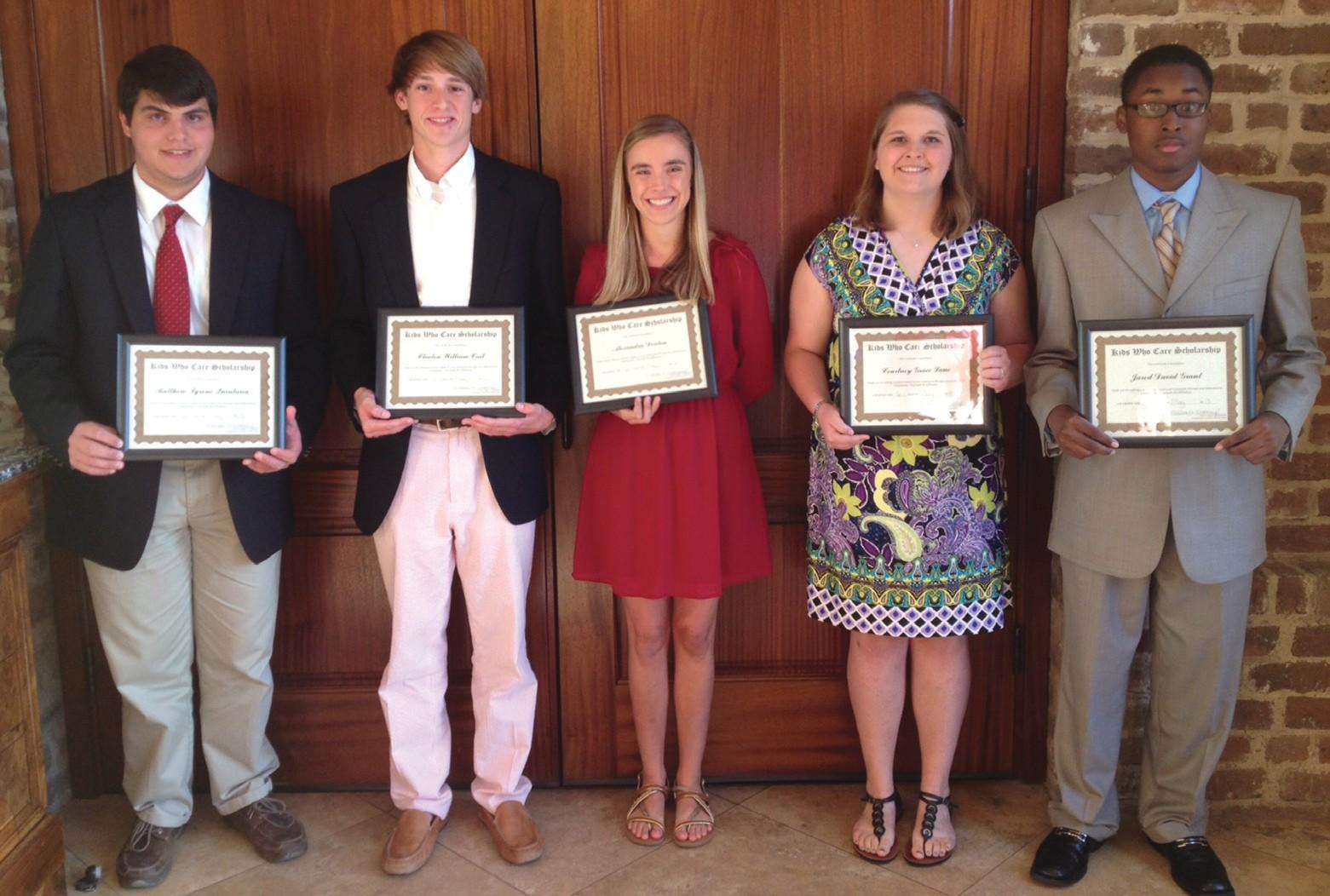 2013 Junior League of Savannah Kids Who Care Scholarship Recipients (L to R): Matthew Quintana, Clinton Cail, Alexandra Deaton, Courtney Lane, Jared Grant.