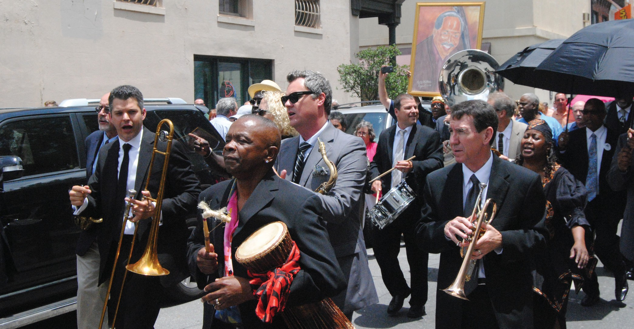 Ben Tucker's Homegoing New Orleans style jazz recessional to Ellis Square. (Photo Courtesy of Levi Wilson)
