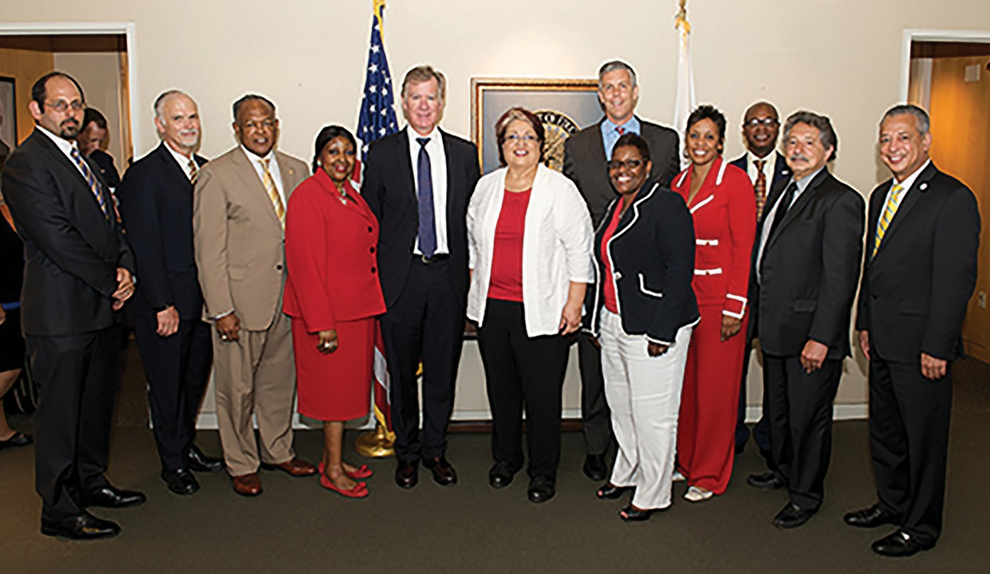 Mayor Edna Jackson and members of the National League of Cities Education Reform Task Force meet with U.S. Secretary of Education Arne Duncan on Monday.