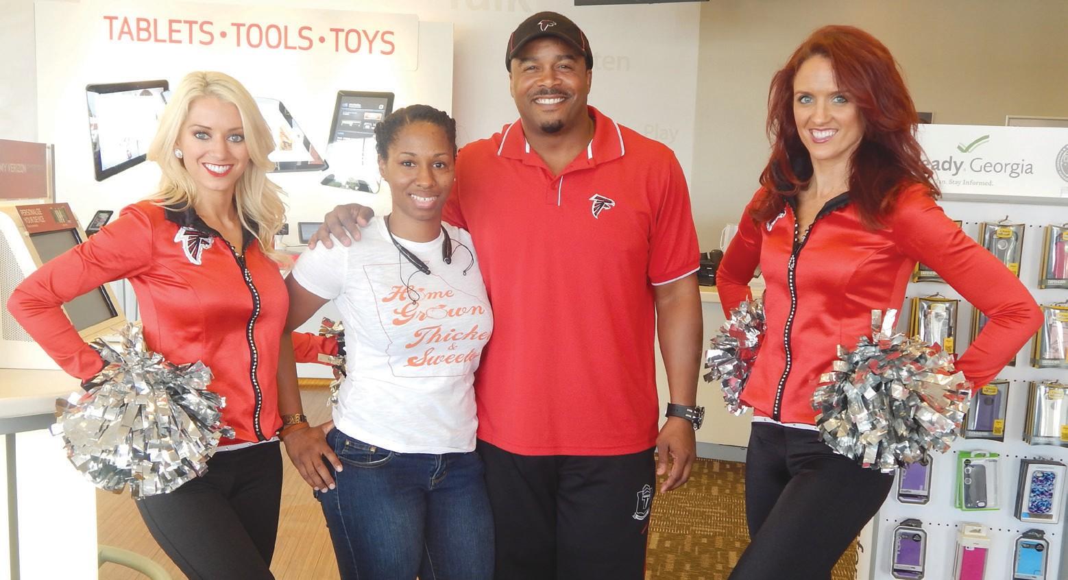 Falcon's Cheerleaders and Falcon's Alumni Ray Buchanan visits Savannah.
