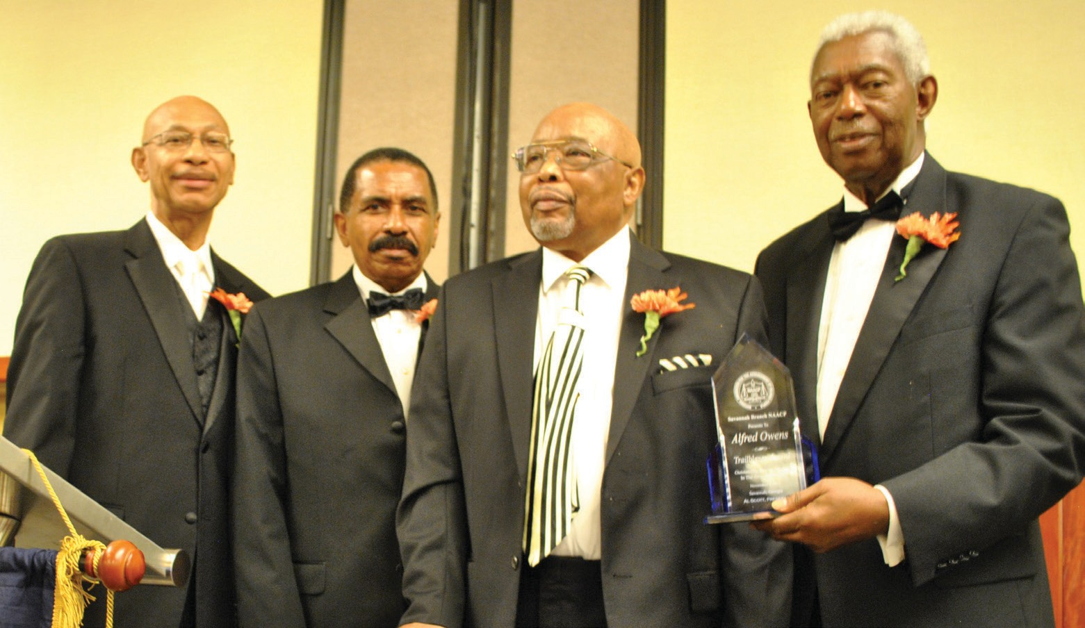 L to R: Former Mayor Otis Johnson, Savannah Branch NAACP President Al Scott, Honoree Alfred Owens recipient of the 2013 Freedom Fund Award, Savannah Branch NAACP Vice President Richard Shinhoster.
