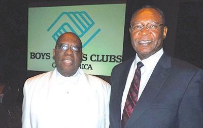 Joe Murray Rivers and Carver State Bank President Robert E. James