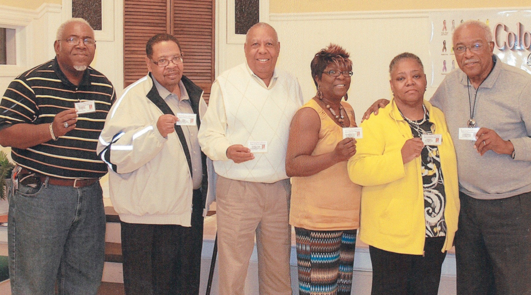 (Membership Members L to R:) Elder Raymond Rouse, Floyd Adams, Comm. James J. Holmes, Janie Brooks, Charlena Brown and Walter B. Simmons. Not pictured: Rosemary Banks, Charlie Brown, Karen Datts, Lawrence Hutchins, Eugene Johnson, George Nixon, Joe rivers James Stewart and Vergie Williams.
