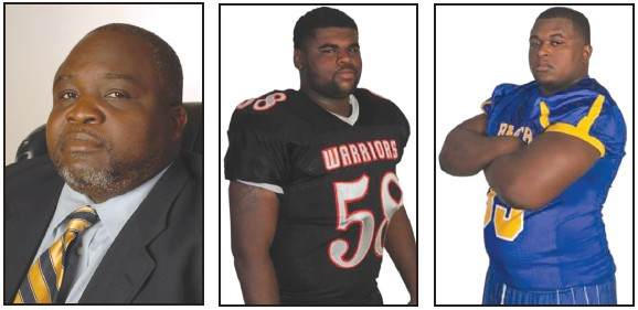 L to R: 2013 East Head Coach Ulysses Hawthorne, Head Coach A. E. Beach High School, Deonta Polite of H.V. Jenkins High School and Willie Cooper of A. E. Beach High School.