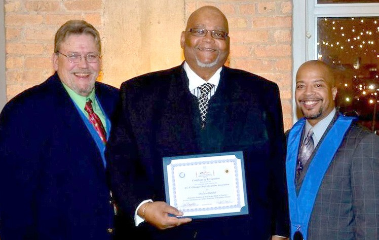 (L-R) Chef Chas Boydston, President of the Chicago Chefs of Cuisine; Chef Joe Randall of Chef Joe Randall's Cooking School of Savannah and Chef Dwight Evans, Vice President of the Chicago Chefs of Cuisine and Chef of the Year for 2013.