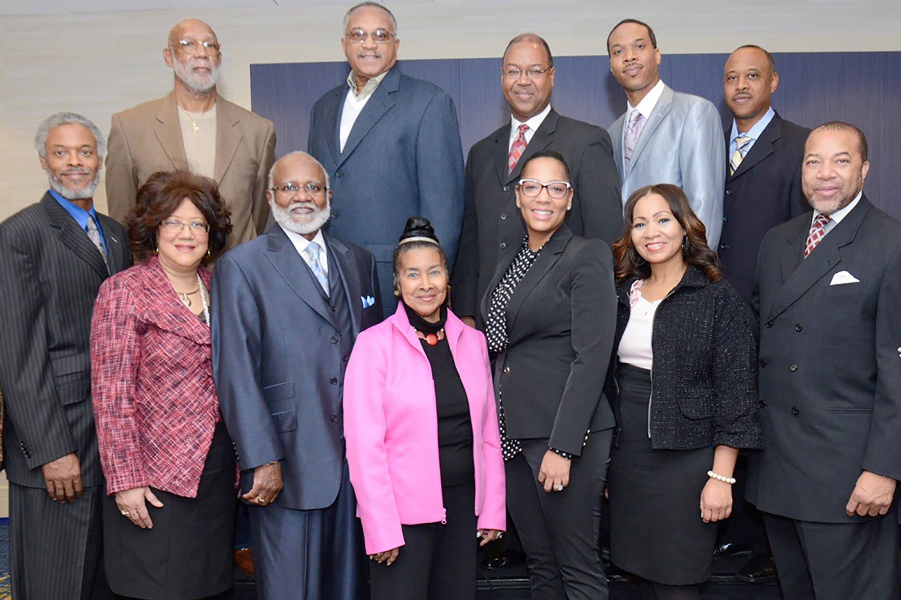 Front Row: (left to right), Rev. Nathaniel Bronner, Jr. (Trumpet Award Honoree); Avarita L. Hanson; (High Heels Honoree, Chief Justice's Commission on Professionalism), Bishop William Sheals (Spiritual Enlightenment Honoree); Xernona Clayton (Founder, Chairperson, President and CEO of the Trumpet Awards Foundation, Inc. and Creator and Executive Producer of the Trumpet Awards); Kysha Cameron (High Heels Honoree, Ryan Cameron Foundation), Sheila Tenney (High Heels Honoree, Atlanta Metropolitan State College); Thomas W. Dortch, Jr. (Treasurer, Trumpet Awards Foundation). Back Row:Dr. John Carlos (Walk of Fame Honoree, Olympian, Educator and Activist); Dr. Tommy Smith, (Walk of Fame Honoree, Olympian, Educator and Activist); Rev. Frank Brown, President Concerned Black Clergy (Spiritual Enlightenment Honoree); Rev James Bronner (Trumpet Award Honoree); Rev. C. Elijah Bronner (Trumpet Award Honoree).