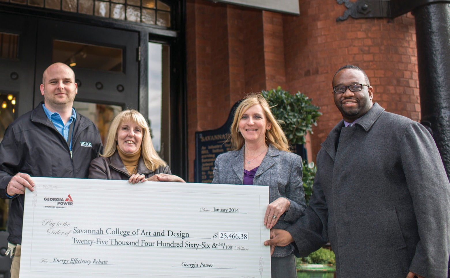 Left to right: Robin Screen and Helen Morgan from the Physical Resources team at SCAD and Alethia Zadach and JaMarcus Brewer from Georgia Power Company.
