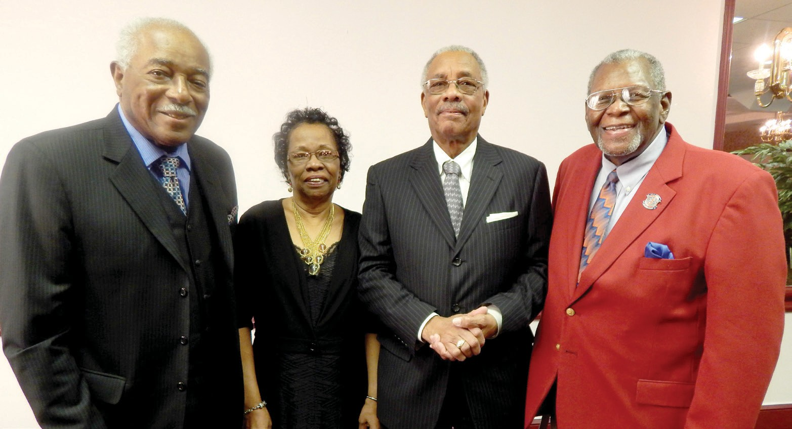 (L-R) Walter Simmons, Vergie Williams, Herman Griner (brother of Leila Young) and Floyd Morris