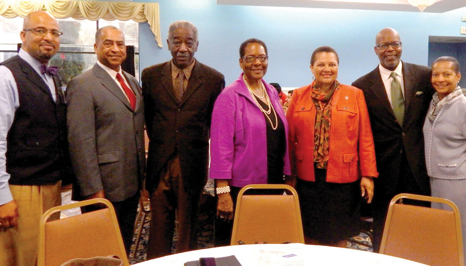 (L-R) Kenneth Irby, Faculty, the Poynter Institute; Bob Butler, president, National Association of Black Journalists; Lester Sloan, visiting professor, SSU; Wanda Lloyd, Chair, Department of Mass Communications, SSU; President Dozier; Reuben Cannon, executive producer; and Alice Cannon