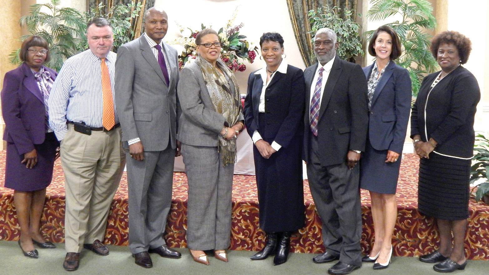 Greenbriar Board of Directors sworn in by D.A. Meg Heap. (L-R:) Dr. Clemontine Washington, Douglas Reed, Ray Truitt, Juanita Adams, Cathy James, Dr. Alfred Young, Meg Heap and Gena Taylor