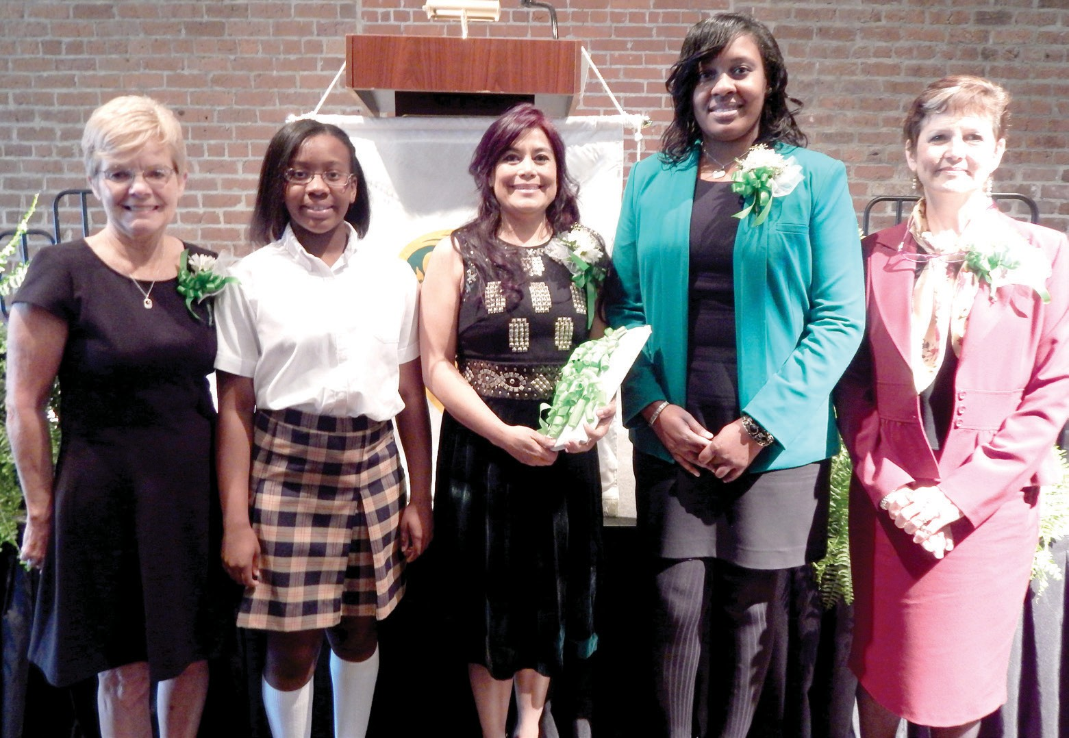 (L-R) Sherry Feathers; Candace Hill, who accepted the award for her mother, Cathy Hill; Dr. Miriam Rittmeyer; Katherine Argrow Cummings; and The Honorable Louisa Abbot