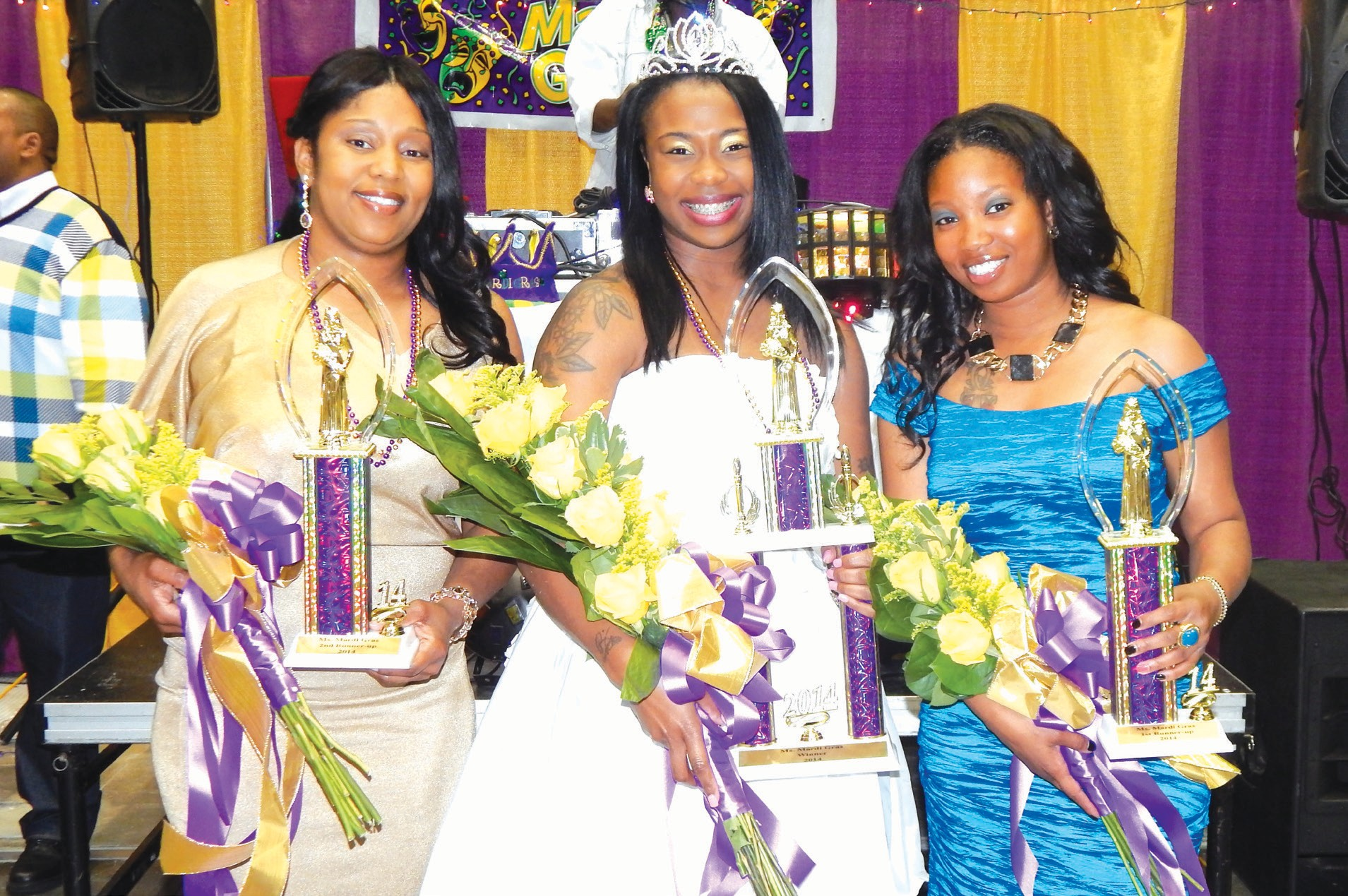 (L-R) Marquita Chambers, first runner up; Rakeila Manning, Miss Mardi Gras 2014; and Latoya Tierria Minor, second runner up