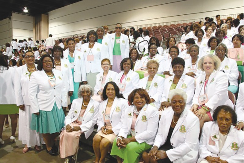 Members of Gamma Sigma Omega in their South Atlantic Regional white jackets.
