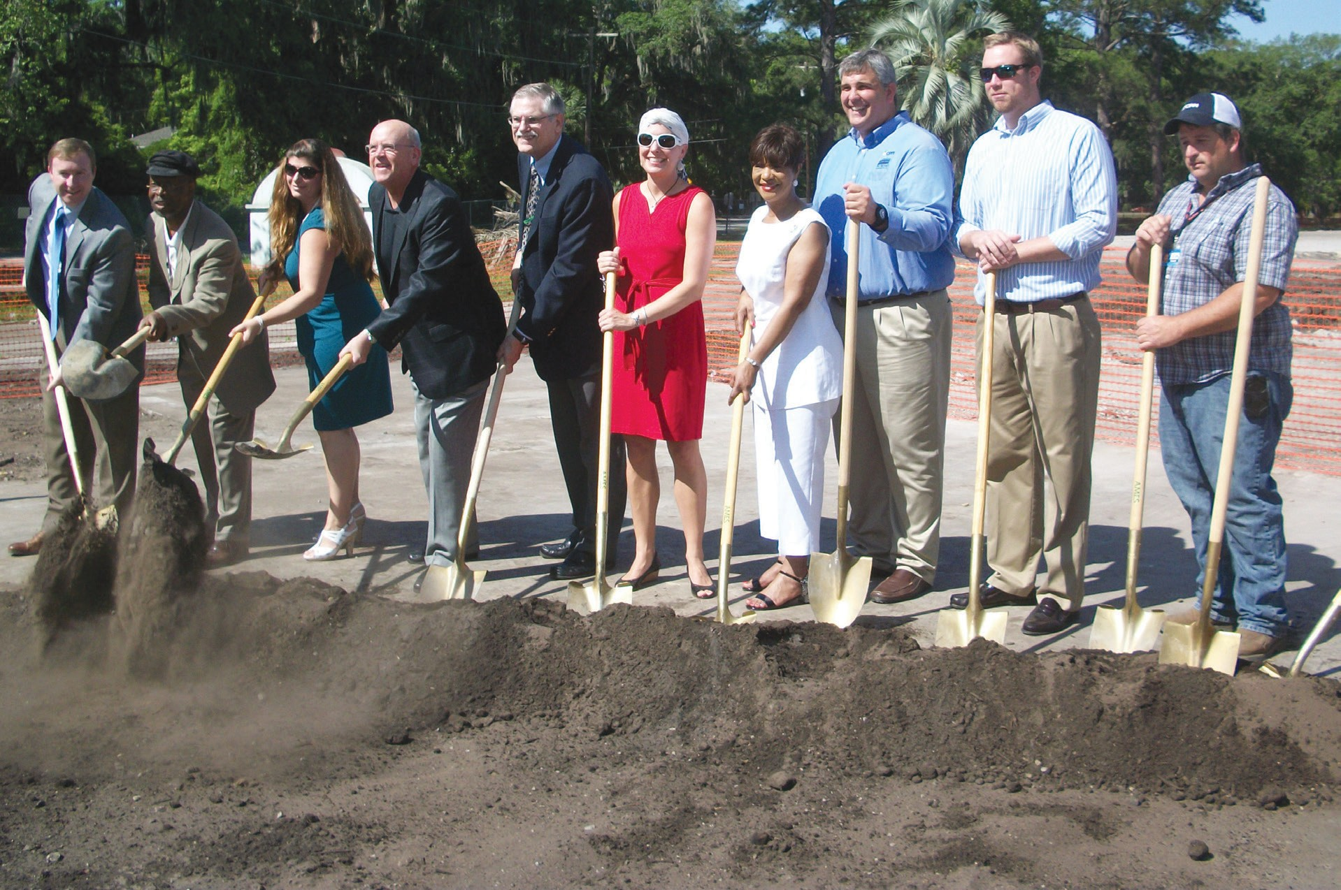 Representatives of the Savannah-Chatham School Board, CPPI of Georgia and Pat Mathis Construction Company pose at Groundbreaking