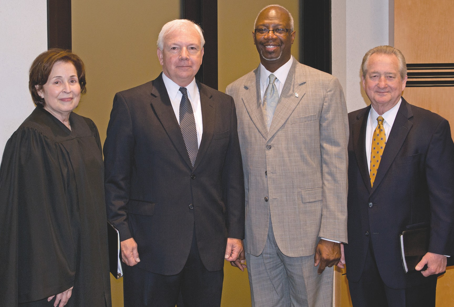 (L-R) Probate Court Judge Nancy K. Aspinwall; Thomas J. Ratcliffe, Jr., STC Board Member; LTG (Ret) William G. Webster, Jr., STC Board Member; Donald Lovette, STC Chairman of the Board of Directors.