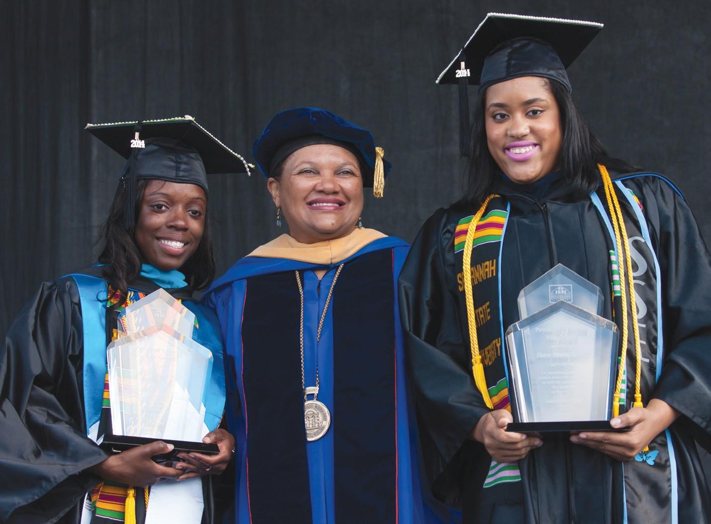 (L-R) Anita Taylor, SSU President Cheryl D. Dozier, Shara Bennett.