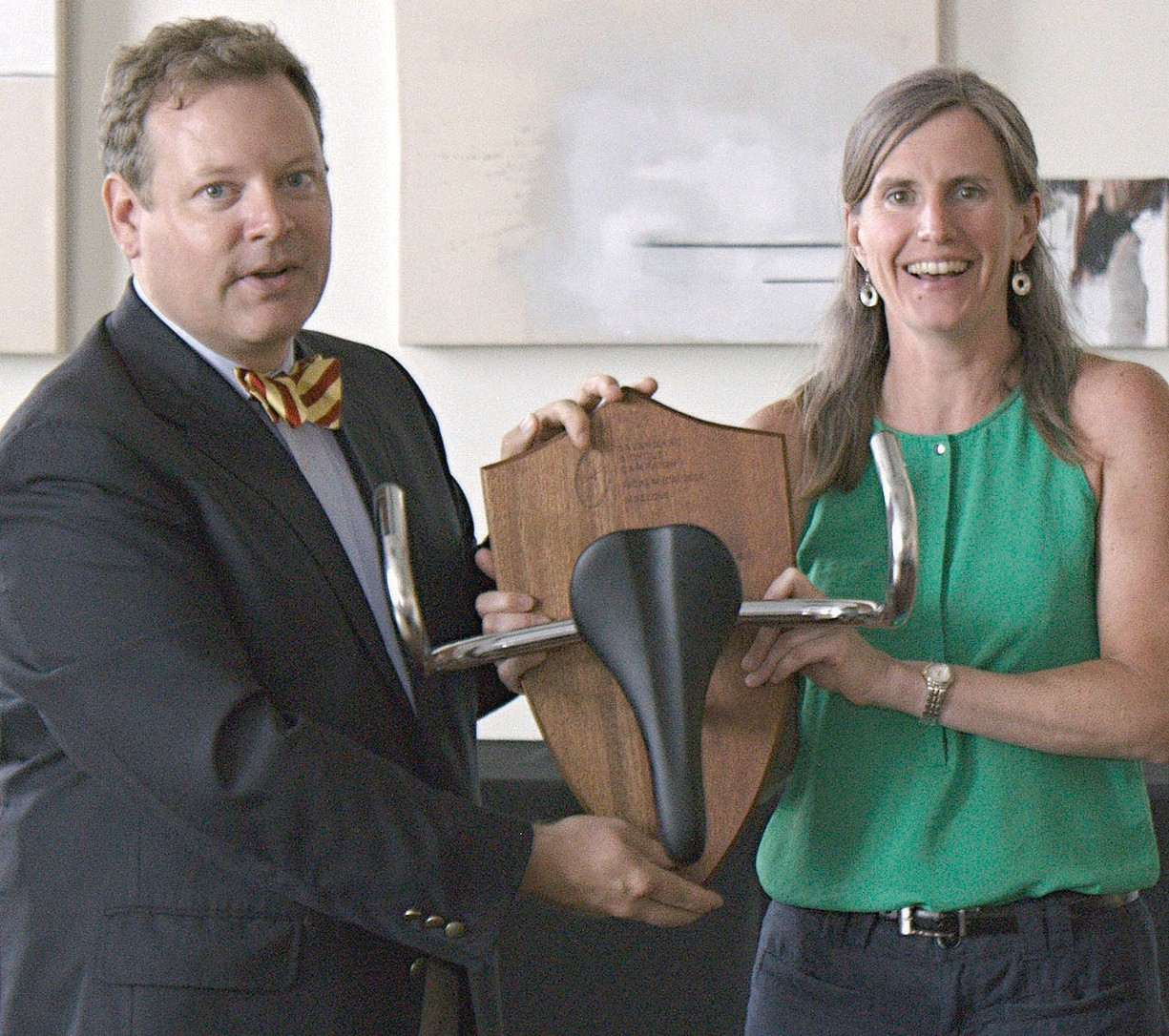 Jane Love receives Pedal Medal Award from John Bennett