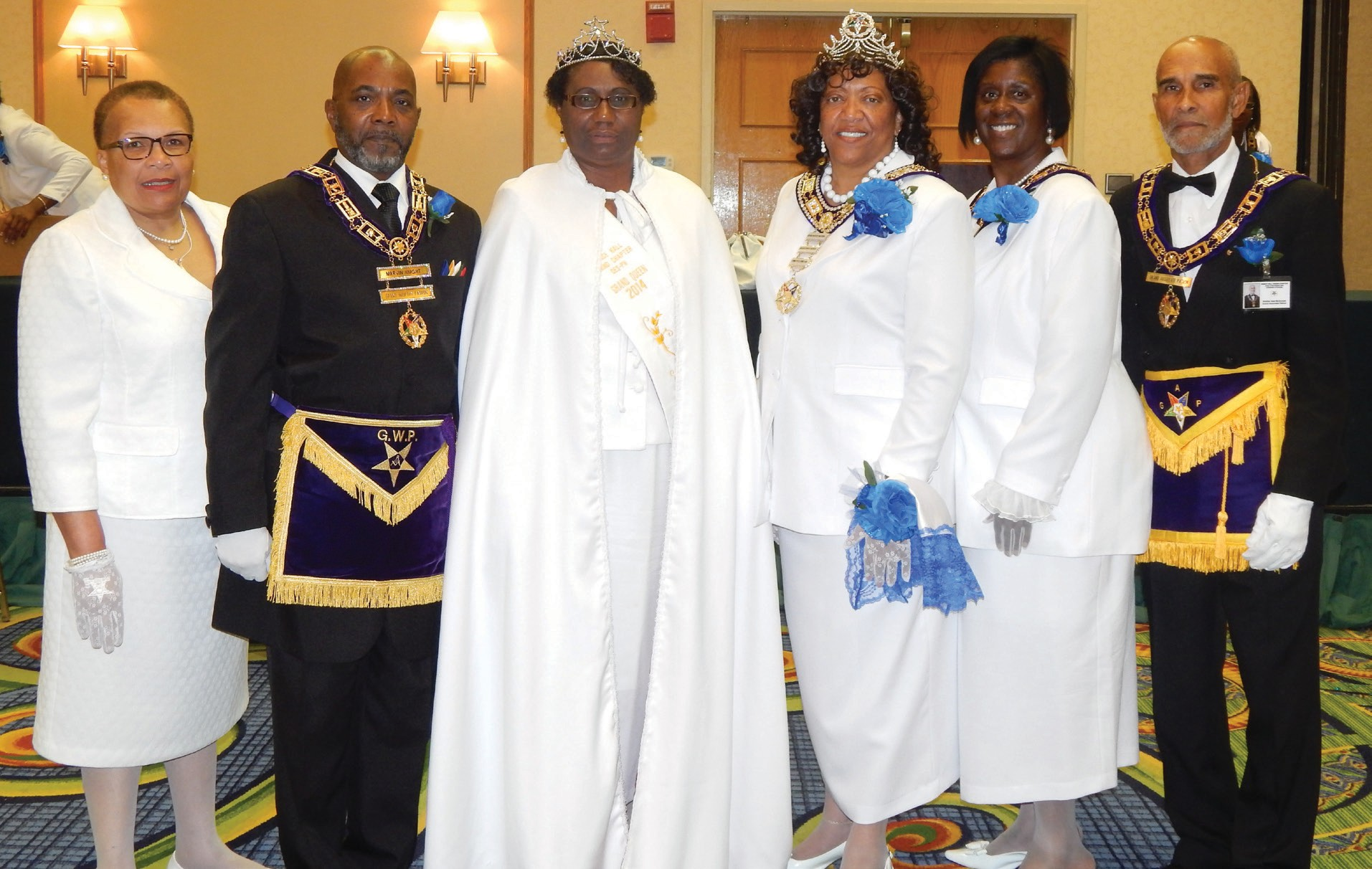(L-R) Chyrileen Kilcrease, District Worthy Matron, Statesboro District 18; Marvin Knight, Grand Worthy Matron of Georgia; Gloria Hagan, Grand Queen Statesboro District 18; Lynette Hymes Grand Worthy Matron of Georgia; Deaidra Wilson, Grand Associate Matron of Carrollton, Ga and Sam McDonald, Grand Associate Matron of Atlanta