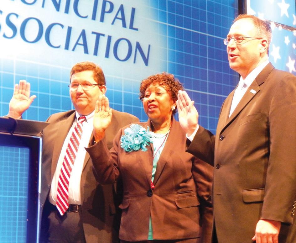 (L-R)Boyd Austin, Mayor, Dallas, 3rd Vice President; Edna Jackson, Mayor, Savannah, 2nd Vice President and Mike Bodker, Mayor, Johns Creek, 1st Vice President