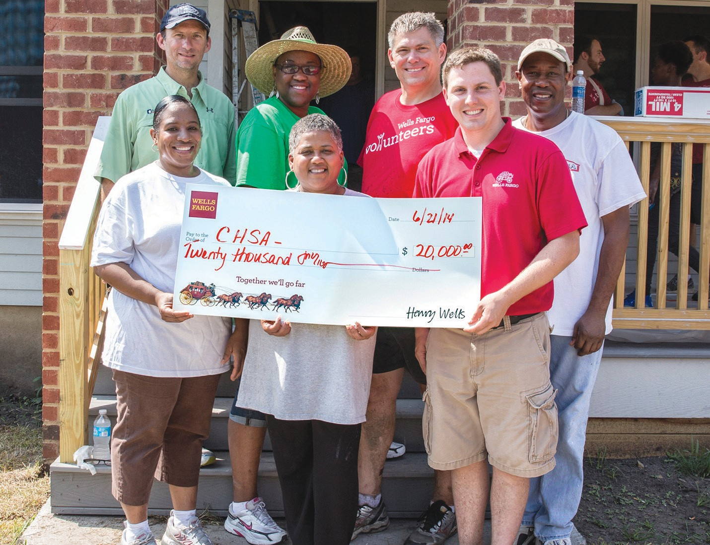 Wells Fargo presented CHSA with a check for $20,000 to help build a home for a family in savannah Gardens. It's all part of Wells Fargo's Community Service Super Saturday. Back row L to R: Andy Ubinski, A.Ramon Inc.; Anita Smith-Dixon, City of Savannah; Todd Householder, Wells Fargo district manager; Darryl Daise, CHSA. Front row, L to R: Deneen Young, CHSA; Lillian Grant-Baptiste YouthBuild Savannah, Jake Jordan, Wells Fargo store manager.
