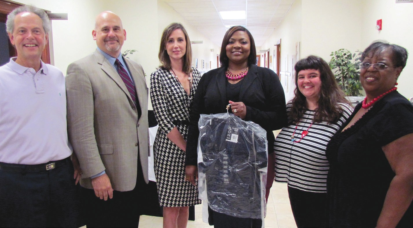 L to R: Gregg Schroeder, President & CEO of United Way of the Coastal Empire; Mark Sonenshein, Regional Store Manager & Vice President of Belk Savannah Region; Darla Hammond, Regional Administrative Assistant of Belk Savannah Region; Cynthia Brady, Executive Director of Tom Austin House; Molly Lieberman, Creative Outreach Director of West Broad Street YMCA; Trudy Jones, Director of United Way 2-1-1